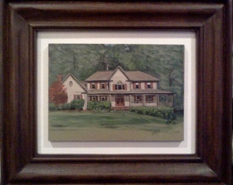 House portrait, framed house portrait, acrylic, custom house portrait, realtor gift, corporate gift