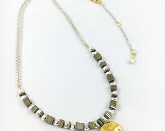 Silver Hematite Gold Necklace