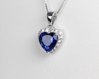 Blue Sapphire Sterling Silver Necklace / Sapphire Necklace with Diamond Accents / Pendant