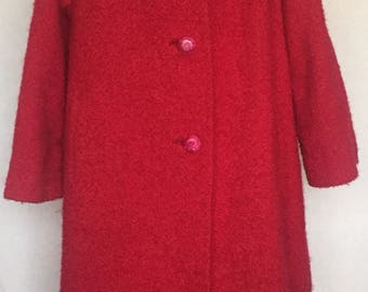 Cranberry Red wool coat with mink collar