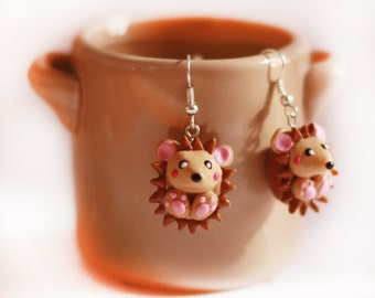 hedgehog earrings - polymer clay