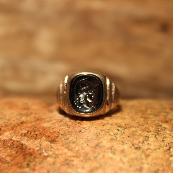 Mens Silver Rings Roman Soldier Ring Size 6.5 Vintage Sterling Silver Hematite Ring 4.2 Grams Roman Cameo Ring Mens Silver Ring Mens Ring