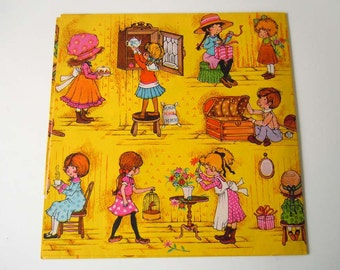 Vintage Children's Wrapping Paper Yellow Birthday Any Occasion All Occasions Gift Wrap