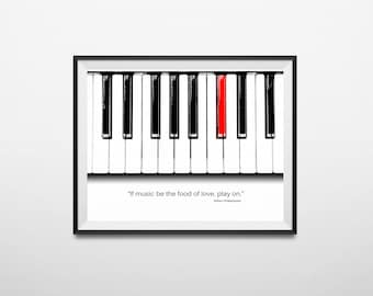 Music Print Digital Download, Piano Art, Shakespeare Music Quote, If Music be the Food of Love, Play On, Piano Keyboard Illustration, Quote