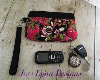 Wristlet wallet   Clutch purse   Key fob wallet   Purple black and Paisley floral
