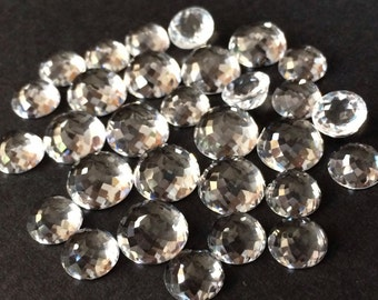 White Topaz 5mm Gemstone Cabochon Rose Cut Micro Faceted FOR TWO