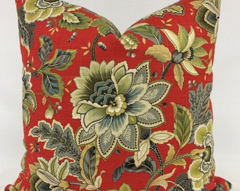 Pillow Cover -  Traditional Pillow- Red Pillow - Floral Pillow -  Dresden Design Pillow - Linen Pillow - Fully Lined - invisible  Zipper