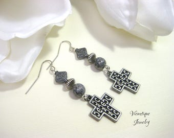 Cross Earrings, Cross Jewelry, Czech Beads Earrings, Christian Jewelry, Christian Earrings, Boho Cross Earrings, Gunmetal Cross Earrings