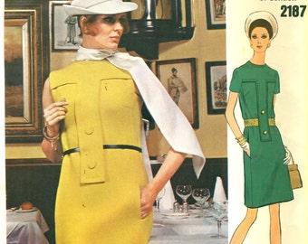 Vogue 2187 Michael of London Vogue Couturier 1960s MOD DRESS Size 14 Bust 36  ©1969