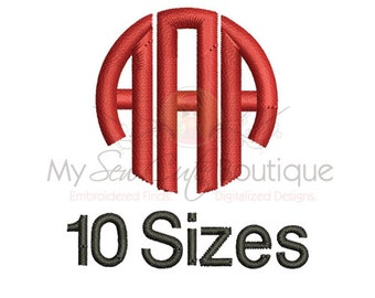 Circle Monogram Embroidery Fonts - Machine Font Designs - 10 Sizes - Instant Download