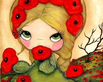 Poppy Print Bright Red Poppies Whimsical Garden Girl Wall Art ---Poppy Monger