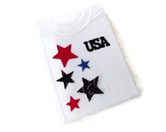 Iron on USA Applique, Red White and Blue Stars, Patriotic 4th of July Applique Design,  DIY Applique T Shirt, DIY Gift for Boys or Girls