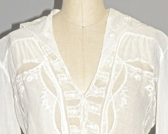 1910s 1920s Blouse, Embroidered Cotton and Lace Antique Blouse, White Edwardian Top