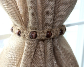 Natural Jute Wooden Beads Woven Rustic Chic Curtain Tie Back Custom Color Beads Custom Sizes Jute Yarn