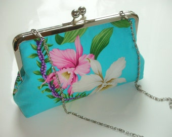 Metal-frame clutch evening bag turquoise cotton purse wedding metal frame handbag blue orchid handbags