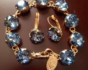 12mm Denim Blue Swarovski® bracelet in Matte Gold finish