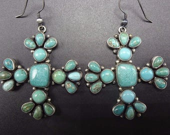 Signed NAVAJO Sterling Silver & TURQUOISE Cluster EARRINGS Santa Fe Cross
