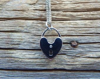 SALE! Crystal Heart Necklace Padlock Necklace Silver Padlock Heart Necklace Valentines Day Gift Heart Necklace Heart Charm Necklace