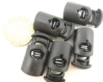 50pcs black  toggles drawstring rope lock Toggles Cord Adjusters Orbs spring stop Spring Loaded cord locks