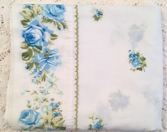 Vintage Full Flat Sheet with Blue Roses - Marvelaire by Springmaid - Blue & Green Floral on White - Full Flat - Blue Roses