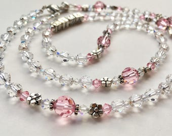 Sparkling Rose Pink & Crystal Rosary, Swarovski Rosary, First Communion Gift, Wedding Rosary, Bridal Bouquet Rosary