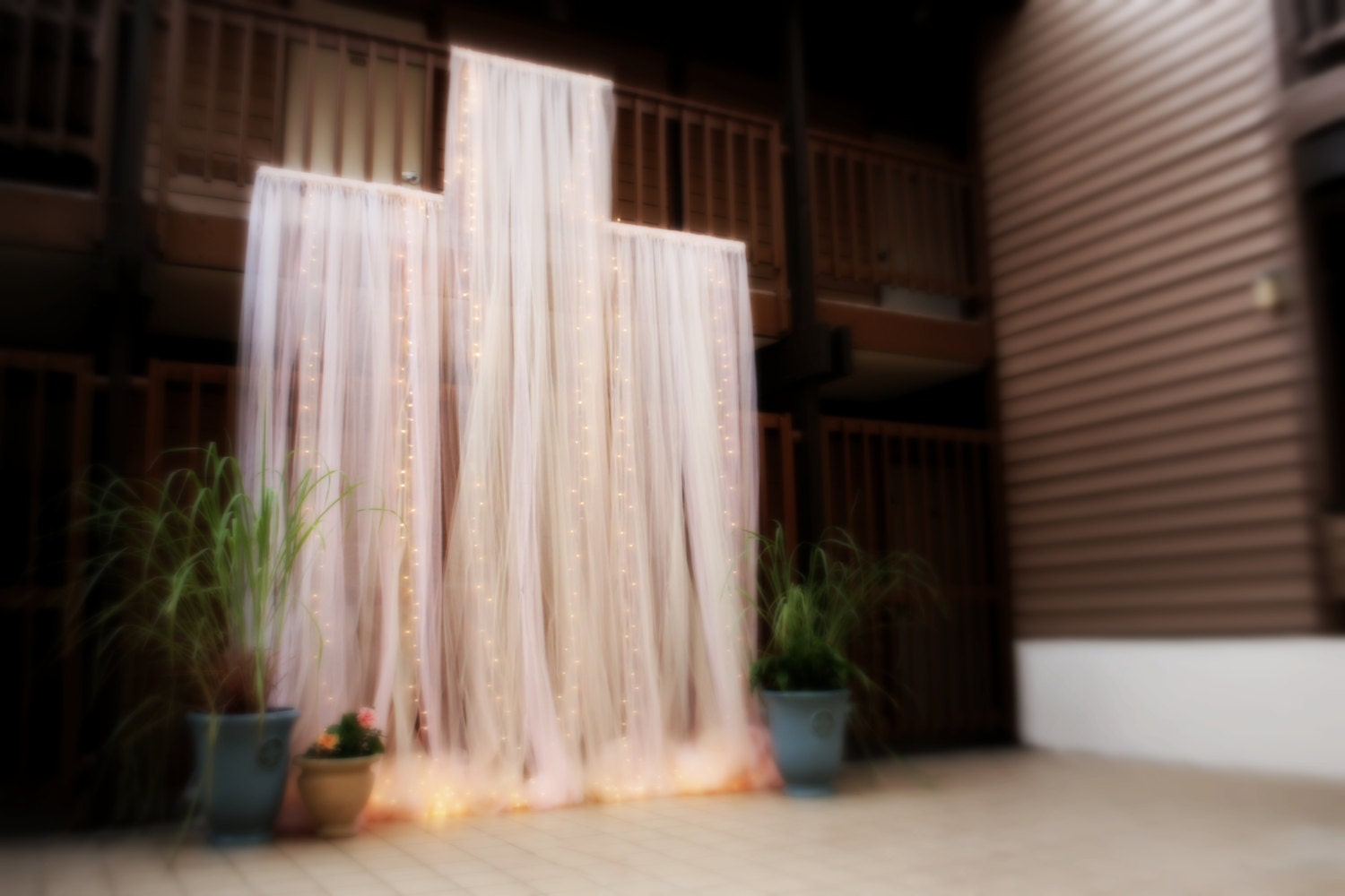 Backdrop TRIPLE 5ft Panel Tulle Dramatic Lighted Wedding