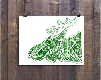 Moose Art Print, 11 x 14 Moose Art Print, Green Art, Moose Drawing, Moose Decor, Moose Ink Art, Moose Pen and Ink, Green Moose