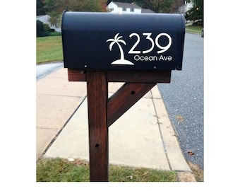 Mailbox Number Decal - Beach House Mailbox - Includes Street Address - Car/Truck/Home/Laptop/Computer/Phone Decal
