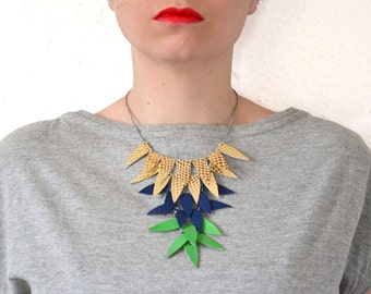 Colorful leather necklace, Statement gold necklace, Leather bib necklace, Statement triangle necklace, Chunky bib necklace, Neon jewelry