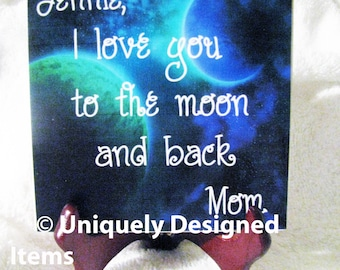 To the moon and back I love you Love you to the moon Moon and back Nursery Decor I love you to the Gift for her Baby Shower gift Anniversary