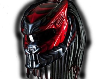 Awesome Predator Helmet Motorcycle Street Fighter Fiber Material DOT Approved