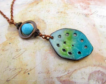 long Boho necklace pendant necklace rustic jewelry  gift for her 25 Enamel jewelry