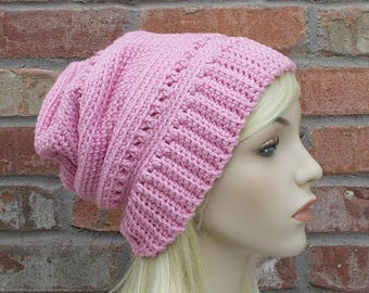 Pink Hat, Slouchy Beanie, Crochet Hats For Women, Cute Beanie, Gifts for Teenage Girls, Hand Crocheted Items, Knitted Hats for Women