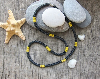 Black mens necklace Wood necklace Mens tribal necklace Mens chokers Surfer Vegan jewelry