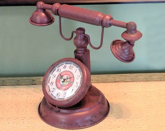 1930's Weathered Rusty Old Fashioned Vintage Antique French Style Faux Telephone Phone Desk Clock Home Decor Time Man Cave Office AT&T Bell