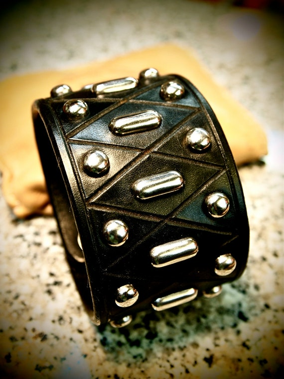 Leather cuff Bracelet Custom Made Black wristband  Studded Harlequin diamonds Made for YOU in USA by Freddie Matara
