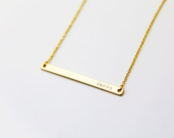 Skinny Name Bar Necklace / Personalized Name Plate Necklace / Hand-Stamped Engraving Initial Monogram Personalized Gift