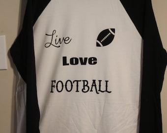 Live Love Football baseball long sleeve  (size Large) black and white