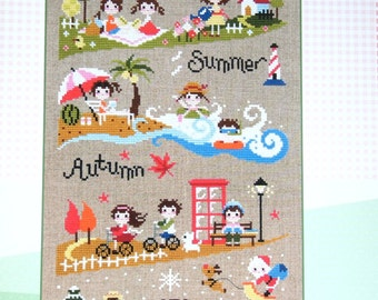 Contemporary cross stitch pattern and kit - four seasons, sampler