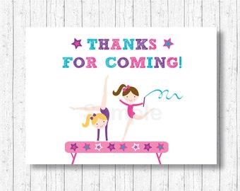 Gymnastics Party Favor Tags / Gymnastics Thank You Tags / Gymnastics Party / Girl Gymnastics / INSTANT DOWNLOAD A193