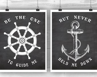 Nautical art, Nautical poster, Anchor print, Helm print, Quote wall decor, Wedding or engagement gift, Costal decor, Set of 2, Digital file.
