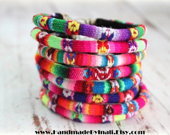 NEON SUMMER COLORS-Peruvian manta Inca Fabric Textile set of 6 bangle Bracelets  summer accessory Folk art Ethnic colorful jewelry by Inali