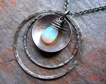 Opal Sterling Silver Hammered Textured Rings Pendant Necklace