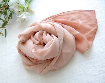 Pink shibori silk scarf, pale coral silk wrap, organic plant dyed, pastel rose stole, original ecofriendly gift for her, sustainable fashion