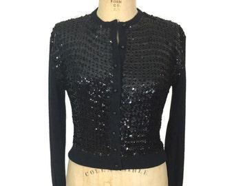 vintage 1960's sequin cardigan / Glen Lea / black / orlon acrylic / embellished cardigan / women's vintage sweater / size medium