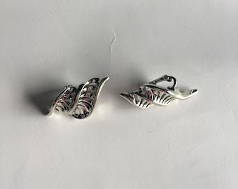 EARRING CORO Silver Leaf Vintage