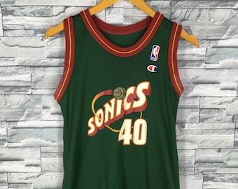 Sonics Shawn KEMP #40 Champion Jersey Small Team Seattle SuperSonics Basketball Nba Jersey Sports Nba Jersey Sleeveless Size S