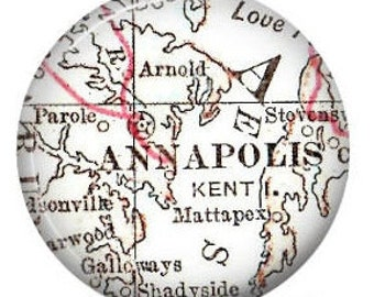 Retractable Badge ID Holder with Vintage Map of Annapolis Maryland, Nursing Student Gift