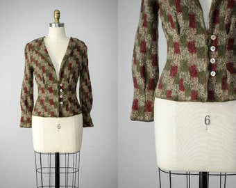 short wool sweater | fitted wool sweater | wool cardigan | nipped waist cardigan | olive green and burgundy cardigan