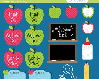 Apples Back to School Red and Green - Clip Art Set Digital Elements for Cards, Stationery and Paper Crafts and Products